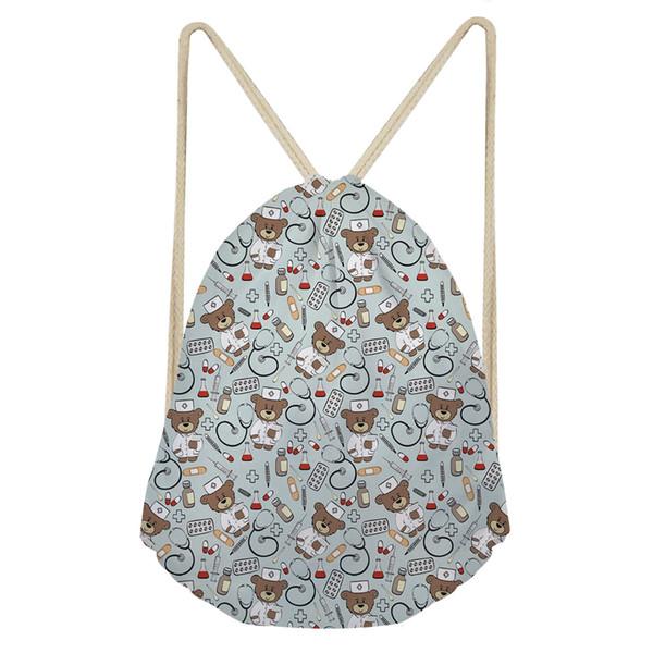 HaoYun Christmas Bag Custom Printing Bear Nurse Printing Drawstring Gift Bags Soft Beach Shoes Pocket Casual Travel Backpack