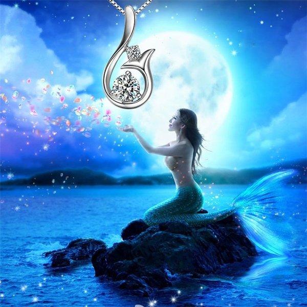 Grado superiore diamante Collana zircone cubico 30% Argento 925 collana in poco pendente Mermaid per la festa di nozze le donne JewelryC0233