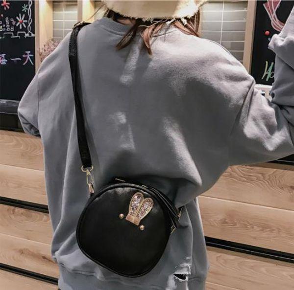 Fashion Korean leather bags with cute rabbit ears waterproof mini shoulderbags key holder purses and handbags anti theft bag