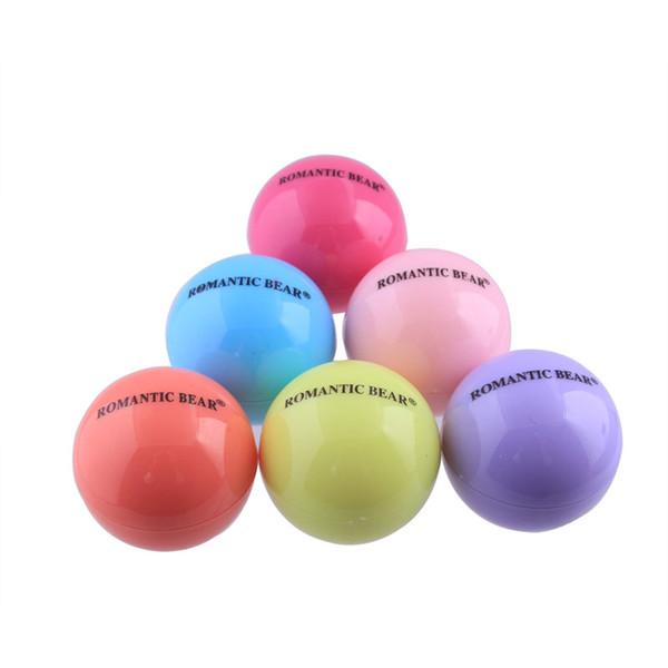top popular 6 Colors Cute Round Ball Lip Balm 3D Lipbalm Fruit Flavor Lip Smacker Natural Moisturizing Lips Care Balm Lipstick DHL free shipping 2021