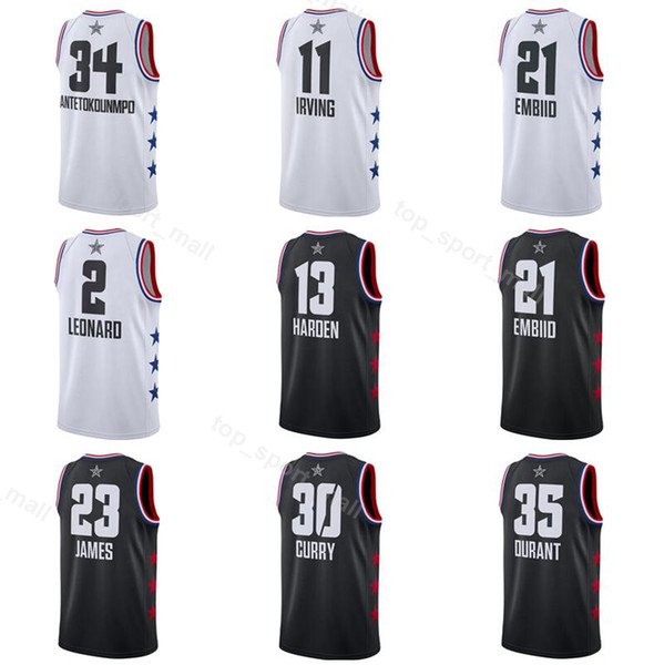 online retailer 835b6 6a1ca 2019 2019 All Star Jersey Basketball LeBron 23 James Kyrie 11 Irving  Giannis 34 Antetokounmpo Kemba 15 Walker James 13 Harden Jersey All Star  From ...