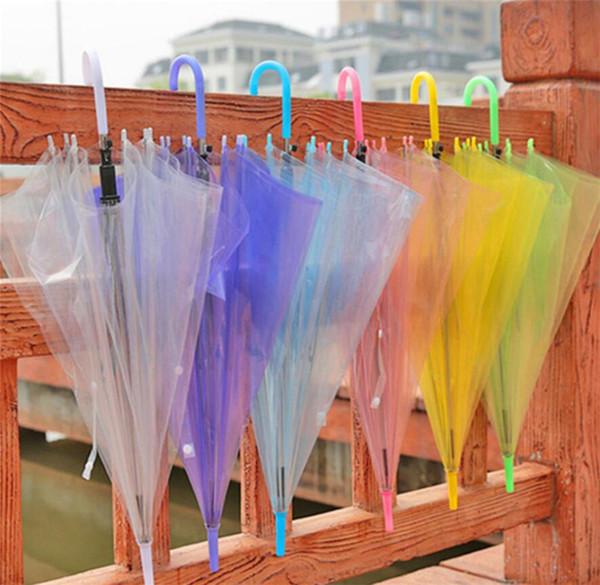 top popular Clear Bubble Umbrella Transparent Dome Windproof Umbrellas Adults Rain Dome Canopy Totes Wedding Party Decor Golf Umbrellas 7 Colors A423 2019