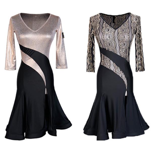 Perspectiva do laço sexy mulheres dança latina franja vestido de dança latina traje adulto desempenho para o desgaste da concorrência de ouro preto