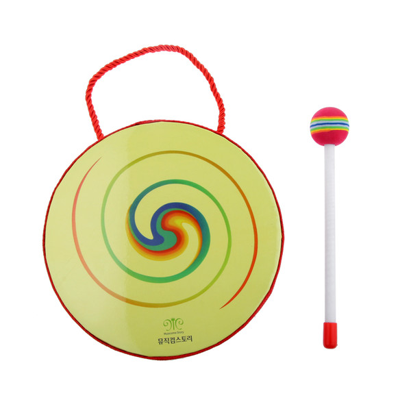 top popular Hand Crafted Hand Drum with Mallet Percussion Instruments Kids Educational Toys 2021