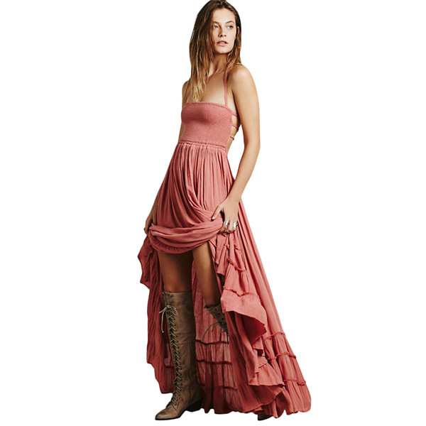 Vestido largo boho maxi de las mujeres atractivas vendaje sin espalda Vestido Longo De Festa Vestido largo plisado sólido de vacaciones en la playa de Bohemia 2019