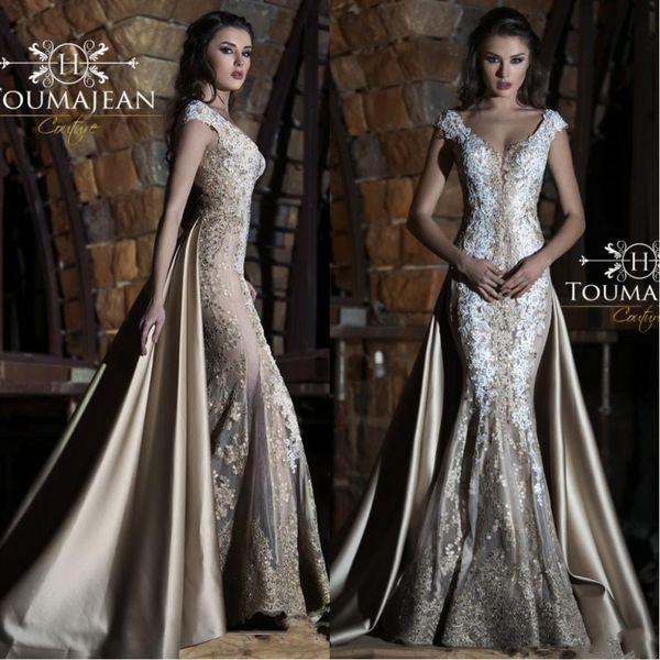 Toumajean Champagne Mermaid Prom Dresses 2019 Arabic V Neck Lace Applique Beads With Detachable Train Evening Gowns Plus Size Party Dress
