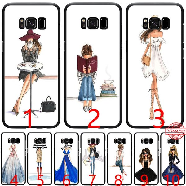Beautiful Love Girls Dress Shopping Soft Silicone Black TPU Phone Case for Samsung A3 A5 2016 2017 A6 Plus 2018 Cover