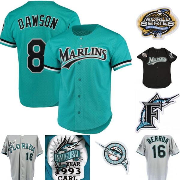 Mens Florida Marlins 3 Carl Everett 8 Andre Dawson 13 John Boles 16 Geronimo Berroa 31 Mike Piazza 35 Camisolas de Basebol Dontrelle Willis