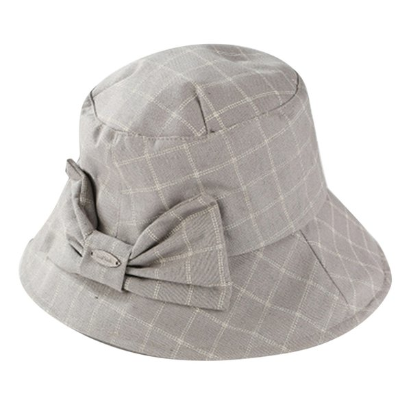 5e13ad98be8 Cute Plaid Bow Bucket Hat Summer Autumn Fashion Solid Color Caps Elegant  Women Folding Fishing Cap Casual Outdoor Fisherman Hats