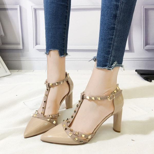 Wild2019 Rivet Sexy T shape pointed toe Patent Leather Woman fine high-heel Shoe Women's Shoes fashion hit