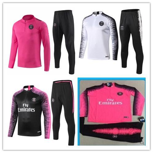 2018 2019 tuta da corsa PSG 18 19 MBAPPE tuta da allenamento a manica lunga PSG Kit giacca da allenamento uniforme da allenamento chandal