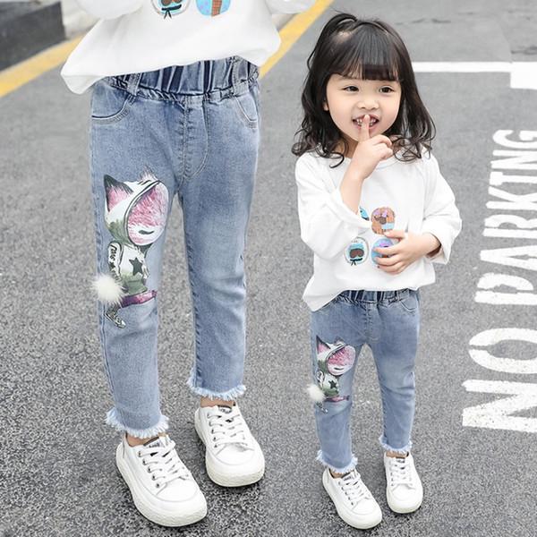 bambino primavera nuova moda cartone animato volpe stampa jeans ragazze pantaloni casual bambini estate bottoms bambino pantaloni autunno