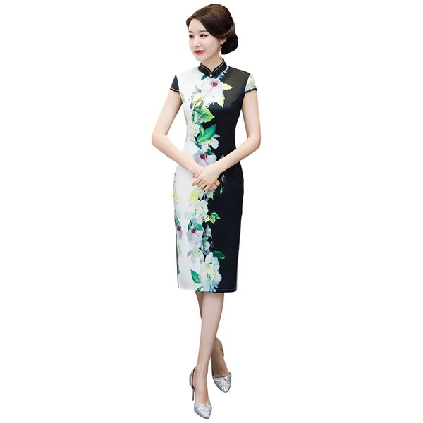 Shanghai Story 2019 New Sale Faux Silk Short Sleeve Floral Qipao With Lining Cheongsam Dress Chinese Traditional Dress For Women