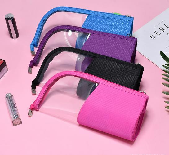 New Transparent Waterproof Storage Bag clear half Makeup Brush Bag Vertical Zipper Pouch Cosmetic Zipper case for travel