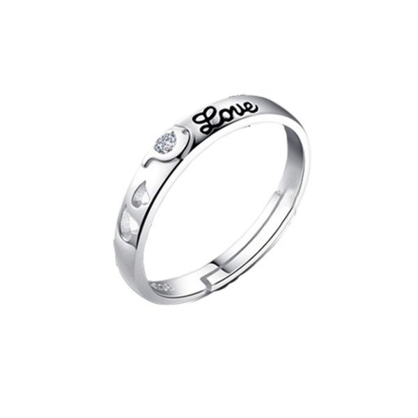 1 pezzo di gioielli affascinanti delfino con strass di colore argento placcato anello dell'amante regolabile non valido