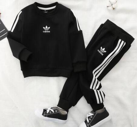 Classic Child Long Sleeve Hoodie Pants Tracksuits Autumn Two Piece Sets Kids Cotton Sweatsuit baby Boy Girls Clothing Outfit 10804