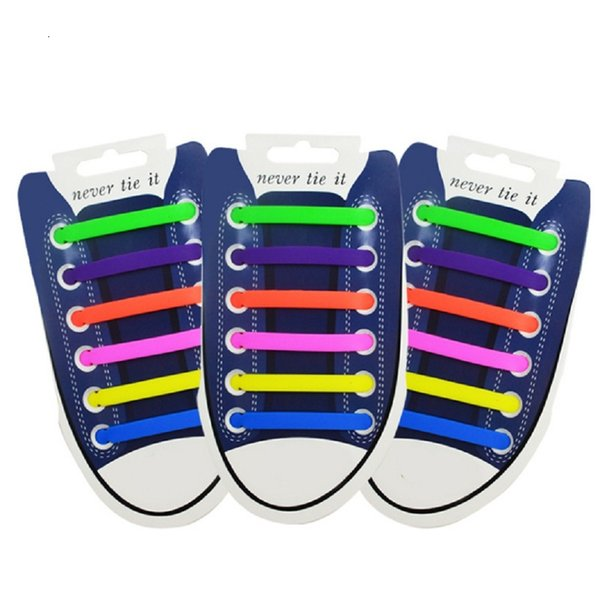 12pcs New Shoelaces Lazy Elastic Silicone Shoelaces No Tie Running Sneakers Strings Shoe Laces