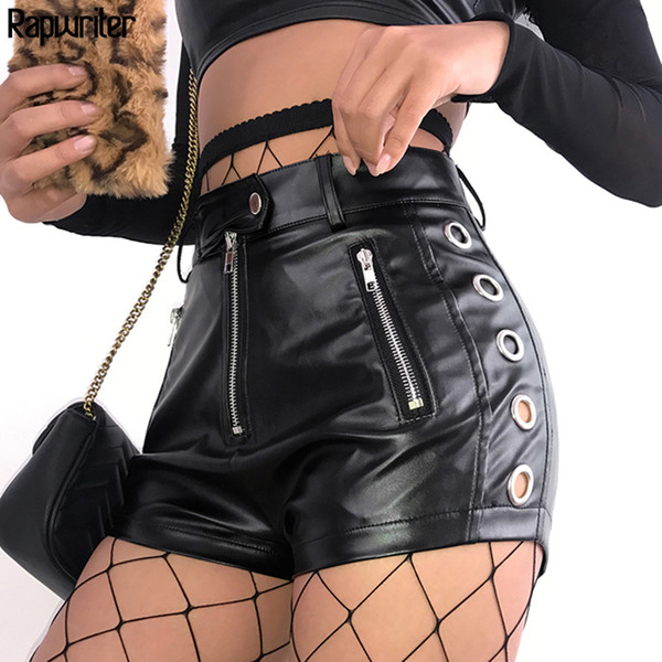 Rapwriter Skinny High Waist Pu Faux Leather Shorts Women 2019 Summer Streetwear Punk Sexy Side Hollow Out Black Shorts Button Y19061101