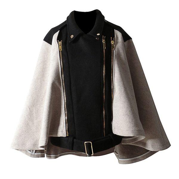 Women Vintage Style Turn-down Collar Cloak Pattern Zipper Designed Two Ways Wear Removable Worsted Cape Coat Black FS0699