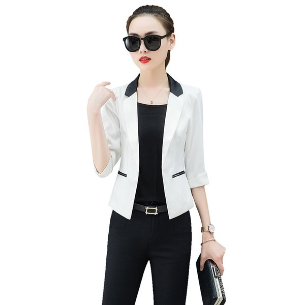2019 Spring Women's jacket three quarter sleeve hit color slim blazer women short coat pink white blazers and jackets work wear