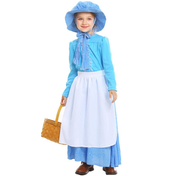 European Children's Vintage Maid Dress Idyllic Farm Apron Maid Cosplay Costume For Kid Halloween Party Fancy Dress