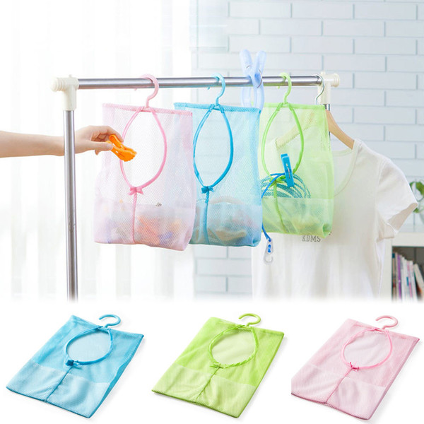 Mesh Storage Box Kitchen Bathroom Clothesline Storage Bag With Hook Creative Dry Doll Pillow Shelf Blue Pink Green