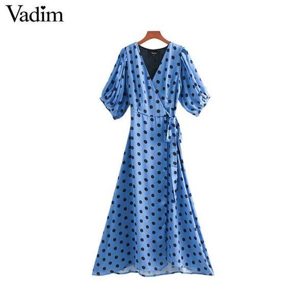 Vadim Women Dots Print Wrap Dress Cross V Neck Lantern Sleeve Sashes Retro Female Casual Midi Dresses Chic A Line Vestidos Qb131 Y19053001