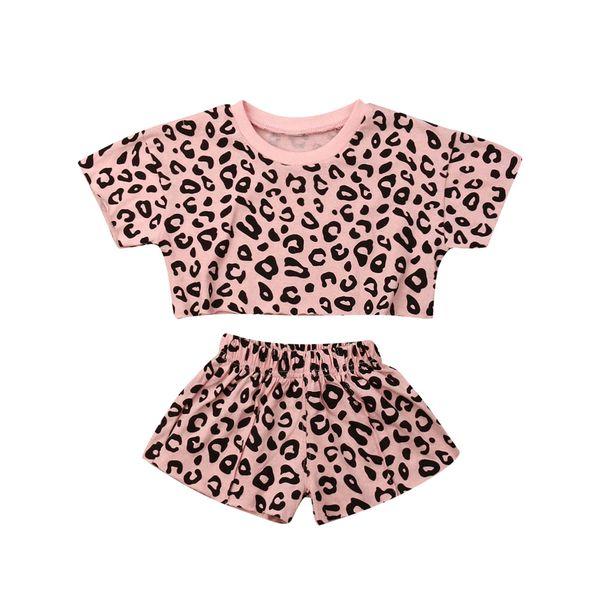 Niñas de algodón Leopardo Grano Impreso Manga corta O-Cuello ropa de verano Camiseta + pantalones cortos para niños niñas trajes casuales