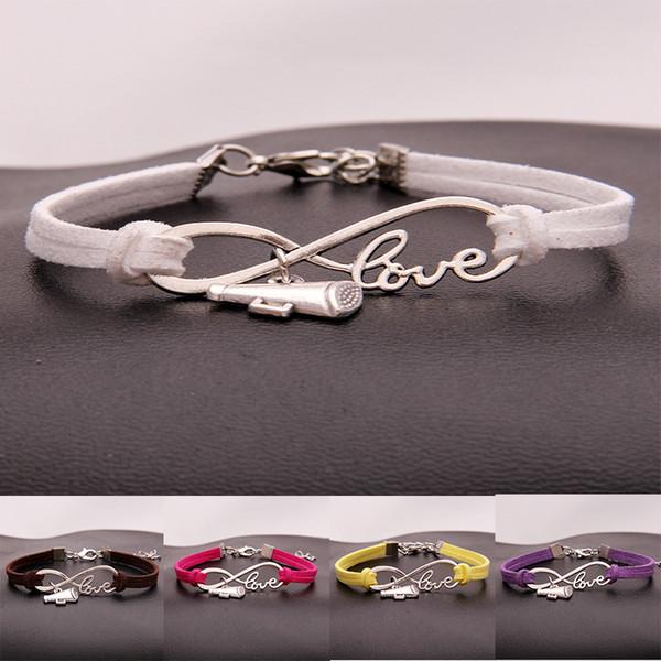 New Cheer leader horn Charm Sports Wish Bracelets infinity Love Velvet String Rope Wrap Bangle For women Men Fashion Jewelry Gift
