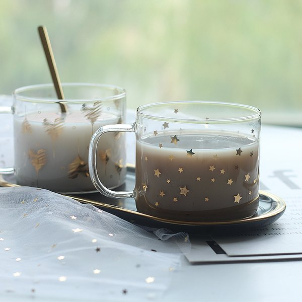 Drinkware home creative star glass cup oat milk breakfast cup juice cups couple cup mugs Tumblers