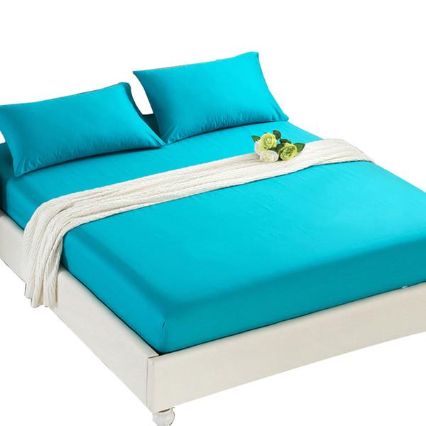 شرشف ملاءة سرير مفرش بغطاء بلون سادة ، مع غطاء مطاطي بسرير مزدوج بحجم كوين 90x200 سم