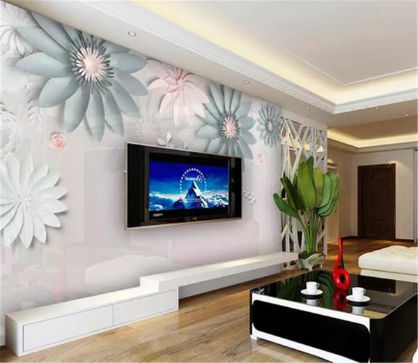 Großhandel Benutzerdefinierte Wandbild 3D Tapete Moderne Einfache Stereo  Blume Schmetterling Wohnzimmer Schlafzimmer Hintergrund Wanddekoration ...