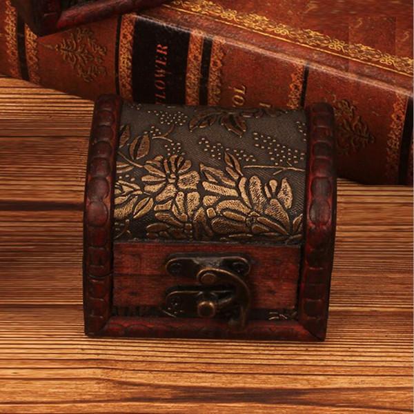 Vintage boîte à bijoux en bois boîte organisateur collier de perles bracelet boîte de rangement cadeau rétro maquillage organisateur DLH173