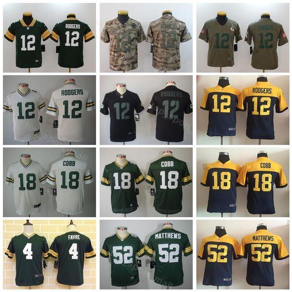 timeless design fea8f 59509 2019 Youth Green Bay Packers Jerseys Kids Football 12 Aaron Rodgers 52 Clay  Matthews 4 Brett Favre 18 Randall Cobb Children Green White Blue From ...