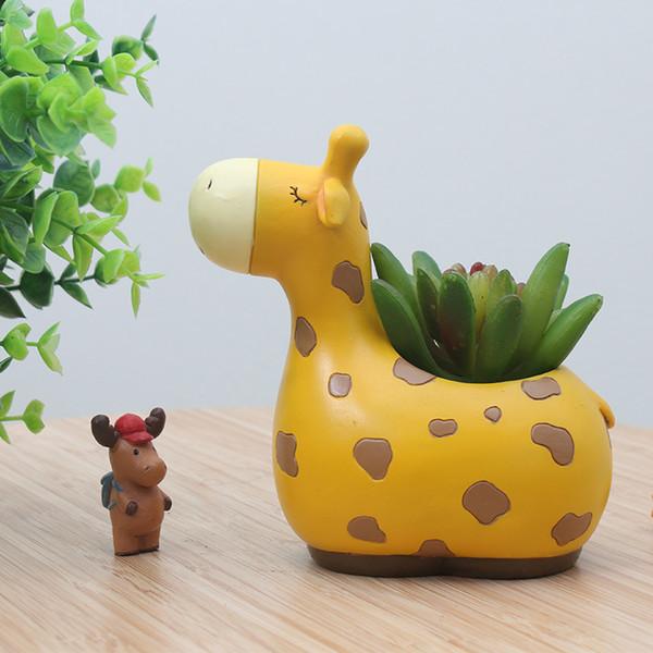 Décoration de la maison Mignon Animal Girafe Panda En Forme De Dessin Animé Succulent Ours Pots De Fleurs Décor À La Maison Hippo Planteur