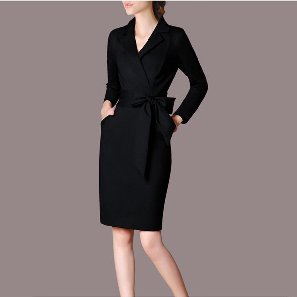 Womens Elegant Office Pencil Dress Black Long Sleeve Knee Length Dress Ol Casual Dress Women Dresses