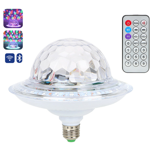 UFO Crystal Magic Rotating Ball E27 Bluetooth MP3 RGB Disco Light 6 colors Remote Control Projector Party DJ Stage Lighting