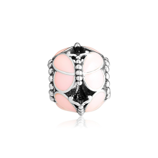 2019 Spring 925 Sterling Silver Jewelry Pink Butterflies Charm Original Beads Fits Pandora Bracelets Necklace For Women DIY Making