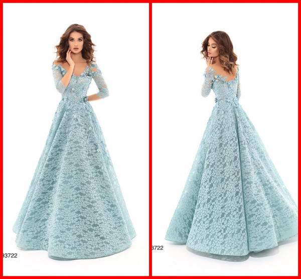 2019 Sage Princess Lace Evening Formal Dress 3D Floral Flowers 3/4 Sleeves A line Backless Cheap Long Cocktail Prom Quinceanera Dress TK