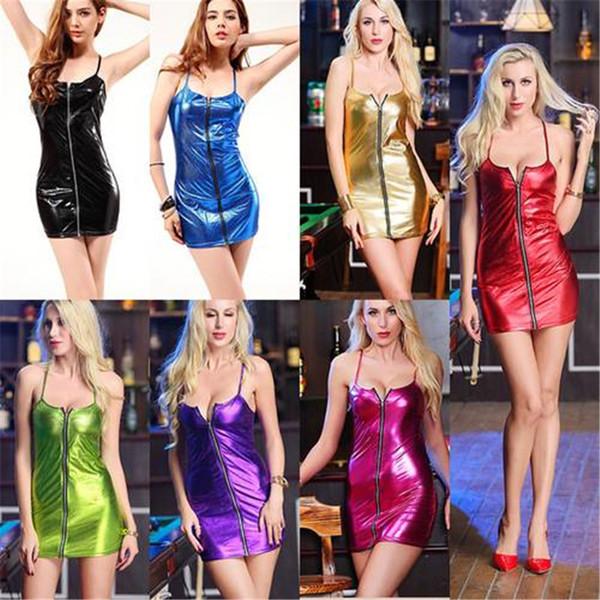 Vestiti casual da donna sexy Vestito aderente in ecopelle effetto PVC con gonna clubwear mini clubwear
