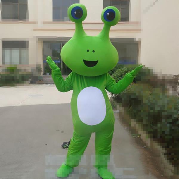 2019 de alta calidad de dibujos animados caliente traje de la mascota del insecto de Halloween navidad rana verde insecto carnaval vestido