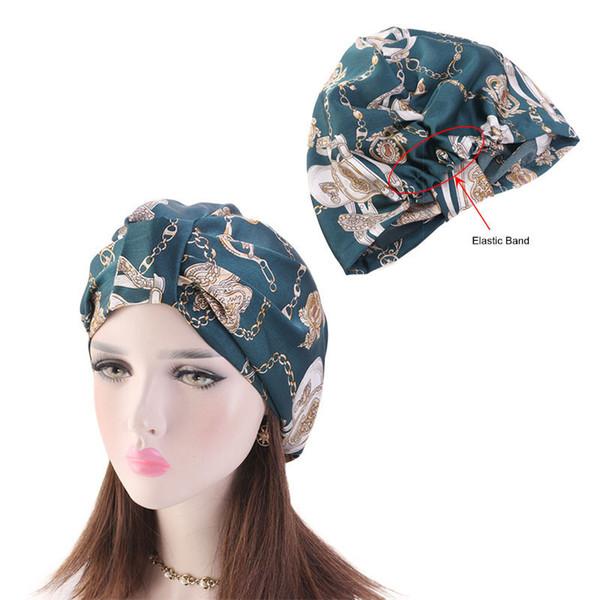 Moslemisches elastisches Band-seidiger Schlaf-Turban-Hüte für Frauen-Krebs-Chemo-Beanies-Kappe Headwrap überzogenes Headwear-Haar-Verlust-Zubehör