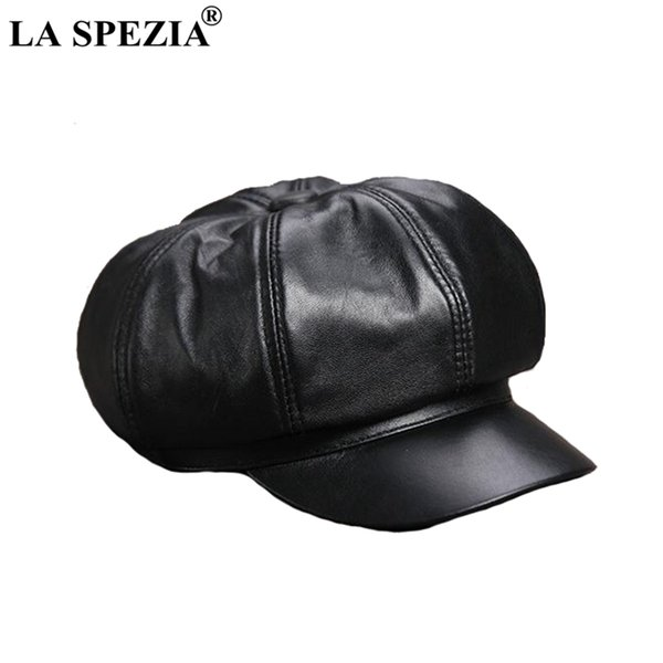 wholesale Black Newsboy Cap Women Genuine Leather Caps Casual Octagonal Hat Sheepskin Natural Leather Female Luxury Spring Caps