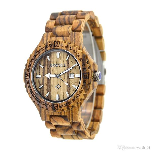 BEWELL Wood Quartz Montre-Bracelet Unique Gear Date Date Montres pour hommes avec Affichage du Calendrier En Bois Bracelet Bracelet Quartz
