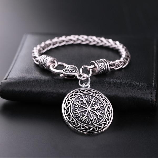 eamer Viking Runes Vegvisir Hollowed Compass Charm Bracelets Odin Teamer Viking Runes Vegvisir Hollowed Compass Charm Bracelets Odin's Sy...