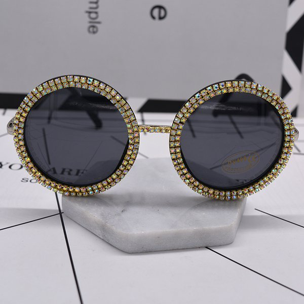 Wholesale-women fashion glass crystal shining oversize baroque sunglasses black full frame big round sun glasses beach outdoor accessories
