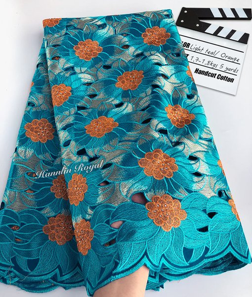 top popular 5yards soft Handcut Holed voile lace African Swiss Lace Fabric Nigerian garment sewing clothes high quality 2019