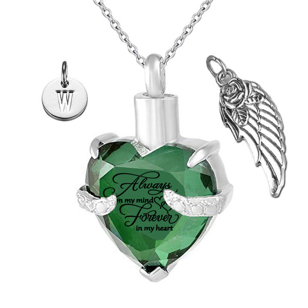 Forever in my Heart Angel Wing and Birthstone May Crystal Charm Cremation Keepsake Memorial Urn Necklace