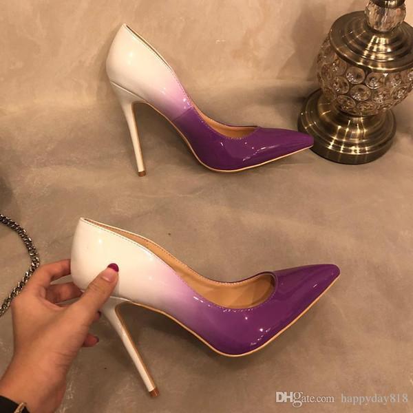 Free Shipping Fashion Women Designer Brand New Gradient Color Purple Patent Leather Point Toe High Heels Pumps Shoes Stiletto 33-43cm 12cm