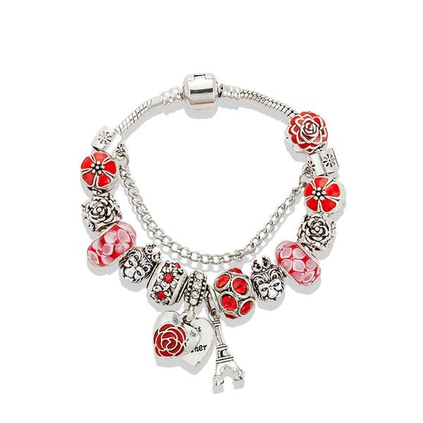 Bracciale Fiore caldo di lusso rosso di vetro per il braccialetto perline ciondolo Pandora fascino DIY Torre con la scatola